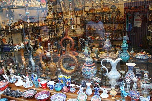 Tapeçaria em loja local na Capadócia